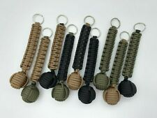 """Paracord Monkey Fist Key Chain Military Colors - 1"""" Steel ball - All Green"""