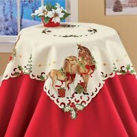 Festive Horses Embroidered Christmas Polyester Square Tablecloth