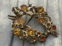 Rhinestone Brooch Gold Tone Yellow Orange Abstract Pin Vintage Costume Jewellery