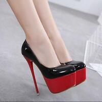 2019 Hot Womens Stilettos High Heels Patent Leather Platform Slip On Pumps Shoes
