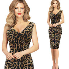 Women Leopard Print Summer Casual Bodycon Cocktail Party Club Midi Pencil Dress