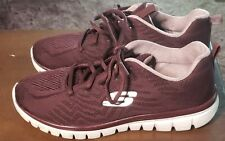 Skechers 12615 Air Cooled Memory Foam Lace Up Sneakers Wine -Womens Size 10