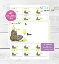 Hedgehog Gift Labels, 42 Self Adhesive Stickers, Birthday/Celebration Gift Tags