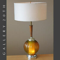 LIGHT UP BASE MID CENTURY MODERN ATOMIC TABLE LAMP! AMBER GLASS VTG 50'S 60'S