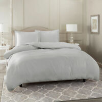 Duvet Cover Set Soft Brushed Comforter Cover W/Pillow Sham, Silver - Full
