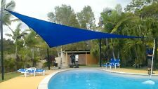3.6m Blue Solex Triangular Shade Sail Commercial Grade breathable UV treated