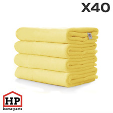 40 X Professional Washable Microfibre Cloths Extra-Large Super Thickness Yellow