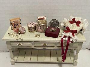 Vintage Artisan Ladies Décor Vanity Boxes Sachet Corset Dollhouse Miniature 1:12