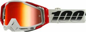 100% RACECRAFT GOGGLES GREY SUEZ MIRROR RED & CLEAR LENS MOTOCROSS MX CHEAP NEW