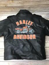 Kids Youth HARLEY DAVIDSON Faux Leather Black Biker Motorcycle Jacket M 12/14