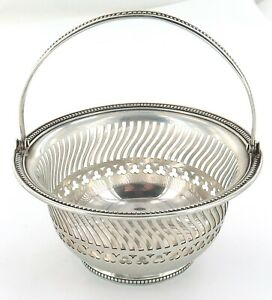 .VINTAGE GORHAM A7315 STERLING SILVER SMALL PIERCED BEADED EDGE BASKET.