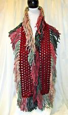 Crochet Fringe Scarf- Burgundy with a multi fringe Charisma Yarn-Handmade