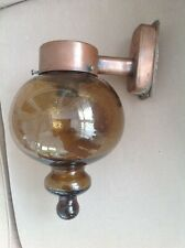 VINTAGE FRENCH CHEMIST OUTSIDE AMBER  BROWN BLOWN GLASS LIGHT & BRASS WALL MOUNT