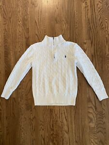 Polo Ralph Lauren 1/4 Zip cable Knit Pullover Sweater Youth Sz 10-12 Cream NWOT