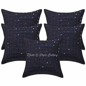 Indian Sofa Cushion Covers 40 x 40 cm Embroidered Mirror Lace Cotton Pillow Case