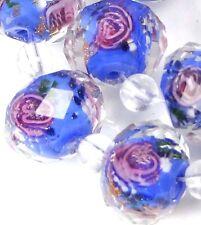 14 Czech Glass Faceted Rondelle Beads - Blue Violet Encased Rose Flower 12x9mm