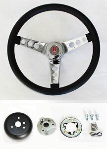 """1967 Oldsmobile Cutlass 442 Delta Black and Chrome Steering Wheel 14 1/2"""""""