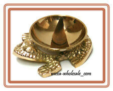 "3"" Brass Frog Incense Burner / Holder for Cones, Charcoal, Resin, Sage Smudge"