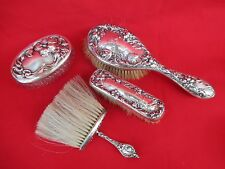 Vintage Foster Bailey Sterling Hair, Bonnet, Clothes Brushes & Vanity Jar c.1900