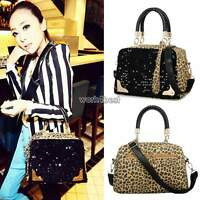 Womens Handbag PU Leather Leopard Print Paillette Sequin Shoulder Messenger Bag