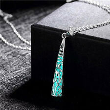 Glow In The Dark Locket Hollow Tower Pendant Luminous Female Statement Necklace