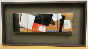 1960s MID CENTURY MODERN ABSTRACT ENAMEL METAL & WOOD WALL SCULPTURE signed ENG