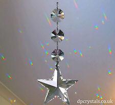 Colector De Sol Colgante Prisma arco iris estrella de cristal + 3x Swarovski octagons móvil