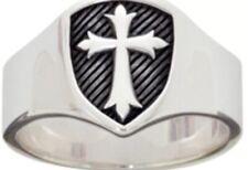 Sterling Silver BSD Men's Cross Ring Signet Shield Size 10 Christian Solid