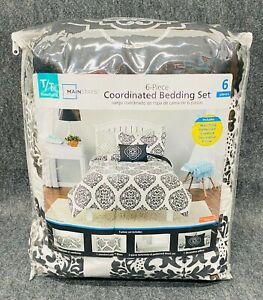 Mainstays Global Damask Bed in a Bag Coordinated Bedding, Twin/Twin XL