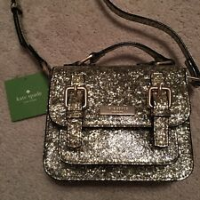 NWT Kate Spade New York Scout Glitter Mini Satchel Crossbody Small Bag Gold New