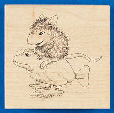 House Mouse Giddyup Rubber Stamp - Stampa Rosa - Mouse Riding Wind Up Toy Frog