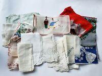Lot 13 Vintage Hankies Handkerchiefs, Bag, 8 Tags Burmel Madeira Stanley