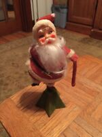 "Vintage Felt & Plastic 11"" Display Santa Claus Doll"