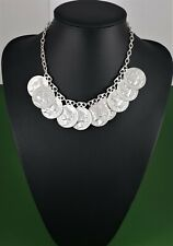 Matte Silver Belcher Link Chain Coin Charms Necklace Statement Choker Necklace