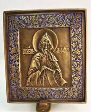 Russian orthodox bronze icon Saint Nephon. Enameled.