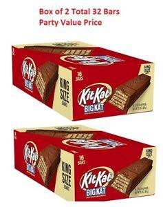 Kit Kat Big Kat Crip wafers milk Chocolate 3 Oz. King Size 2 Bars 16 Count 2 Box