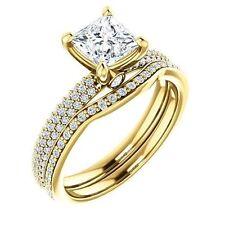 1.52 ct Princess & Round Diamond Engagement Wedding 14k Yellow Gold Ring G SI1