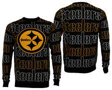 FOCO NFL Men's Pittsburgh Steelers Wordmark Repeat Ugly Sweater