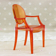 Plastic Arm Chair Barbie Blythe Transparent ORANGE Dollhouse Miniature 1:6 Scale