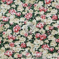 BonEful FABRIC FQ Cotton Quilt VTG Pink Cream Green Leaf Rose Flower Shabby Chic