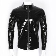 Mens Nightclub Shiny Metallic Patent Leather Jacket Tops Long Sleeve Zipper Coat