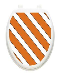 Toilet Tattoos Collegiate Orange and White Vinyl Toilet Lid Decoration