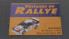 Certificat Voiture De Rallye De Collection « Audi Quattro »TBE.