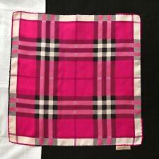 "vintage BURBERRY fuchsia silk neck scarf / bag twilly Plaid print 18.5"""