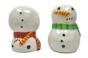 Department 56 Snowman Salt and Pepper Shaker Set Upside Down Christmas