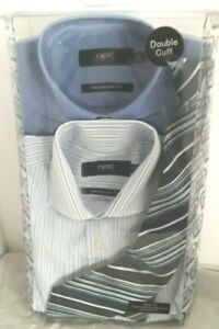 NEXT REGULAR FIT  FORMAL SHIRTS D/CUFF TWIN PACK x2 WITH TIE SIZE 14.5 COLLAR