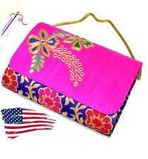 Elegant Party Hand Embroidery Clutch Purse with Smart Raw Silk