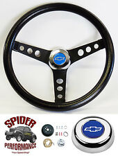 "1969-1994 Camaro steering wheel BLUE BOWTIE 13 1/2"" CLASSIC BLACK steering wheel"