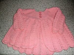Hand Knitted Baby Matinee Jacket - Pink