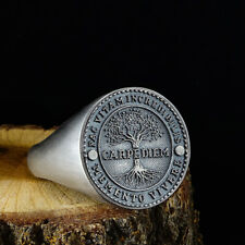 Carpe Diem Tree of Life Mens Solid 925 Sterling Silver Signet Ring All Sizes